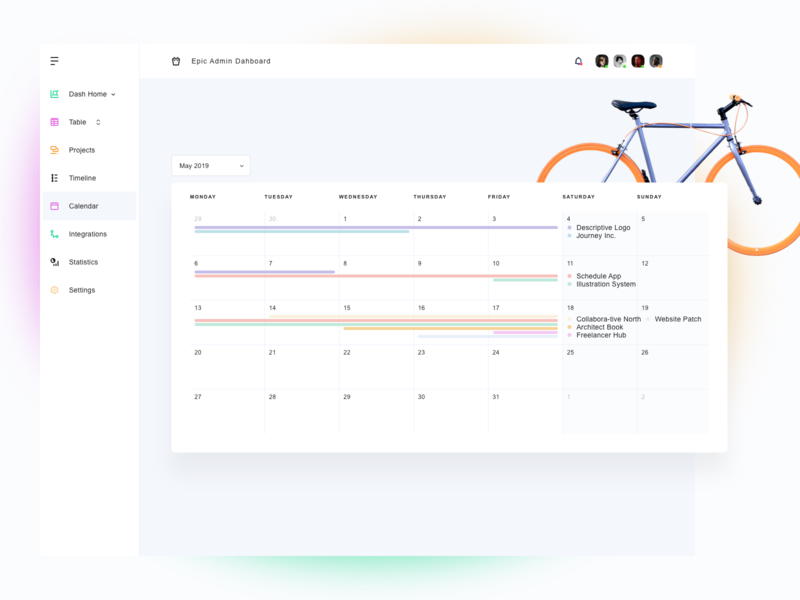 Calendar for Admin Dashboard concept white ipad app vectors dashboard design website web clean sketch management graphic design ux ui bike minimal orange calendar ui kit