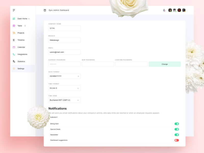 Settings for Admin Dashboard menu pagination concept pink white text fields sketch vector design graphic ux ui notifications date app flowers flat website web settings