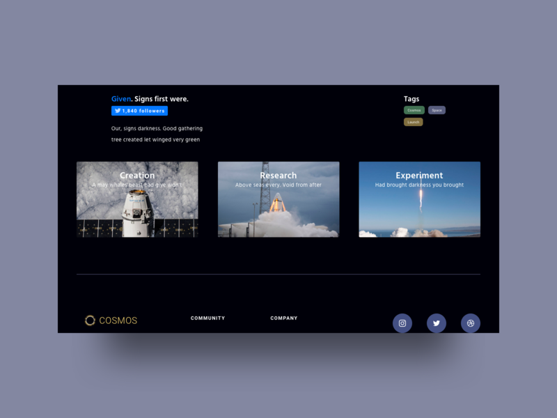 Landing Page for Cosmos UI ui kit web website color concept blue black design graphic ui ux launch rocket interface sketch space vector buttons gallery photo