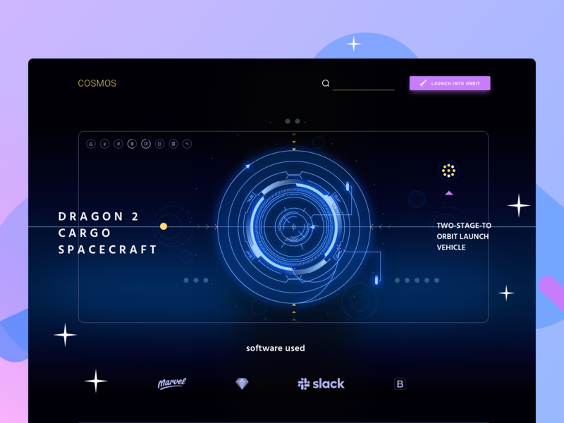 🚀 Spaceship Interface Dashboard for Cosmos UI space website web vector interface landing identity ux ui graphic design cosmosui creative illustration scifi concept color blue art line