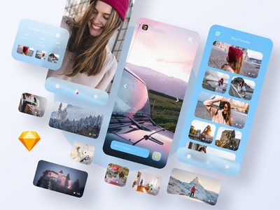 Outline UI Kit floating screens identity photography graphic girl concept iphone ux ui branding vector sketch blue profile social gallery gradient design ios app