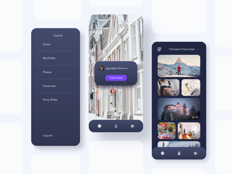 Outline app is floating on a gray background menu user rounded profile media social gallery vector ux sketch mode night theme dark black gradient color ui app ui kit