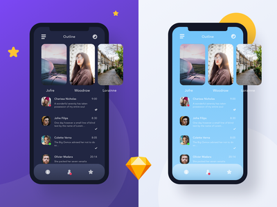 Outline day and night white purple outline iphone ios people user chat photography media social sketch design flat night mode blue color ux app ui kit