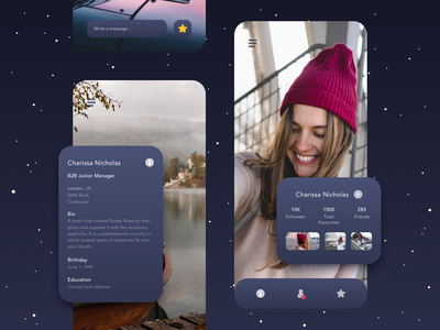 Outline night mode in the sky iphone ios people user night mode cards girl photography profile vector ux sketch design color ui app ui kit