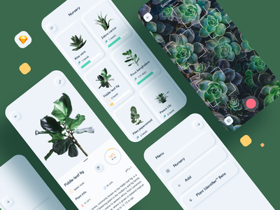 Neuomorphic Plant Watering App skeuomorph design sketch info card menu gallery camera watering succulents plants green color app ui kit