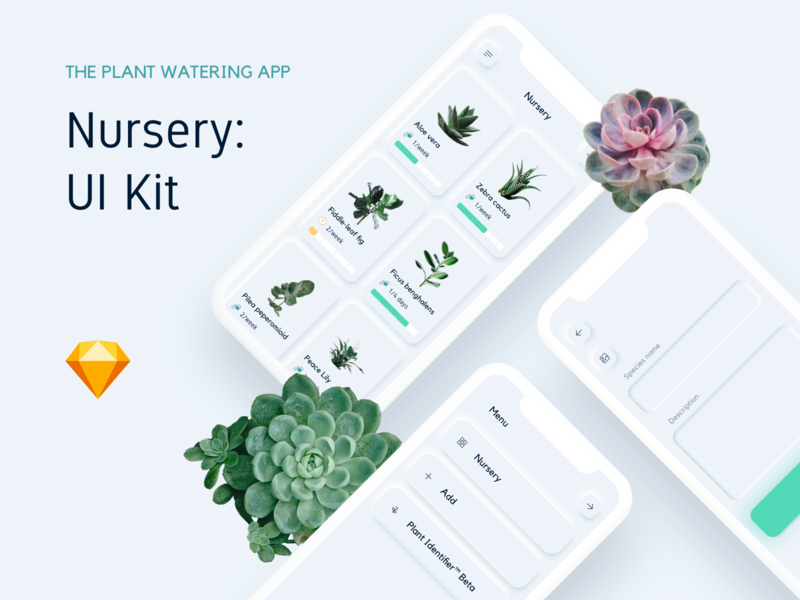 Nursery plant management App ios light nature list stats white green succulent plant menu vector ux sketch design app ui kit