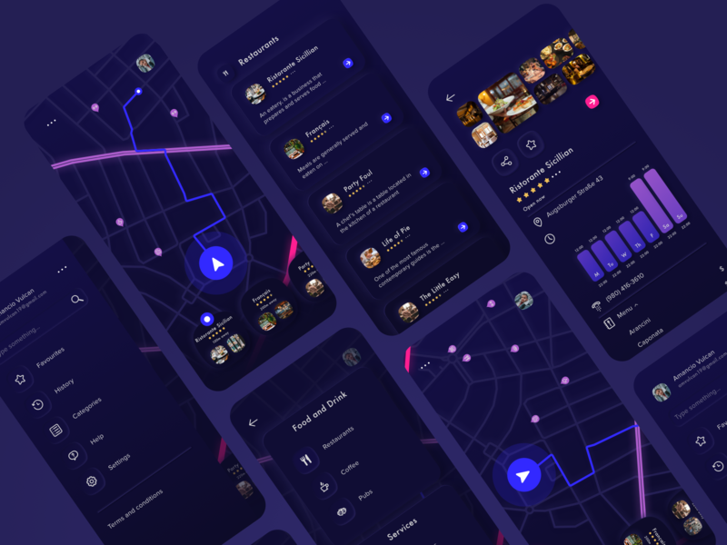 First preview of Throttle App night mode dark drive car schedule vector local ui kit neuomorphic sketch map menu info card blue black gallery design color app