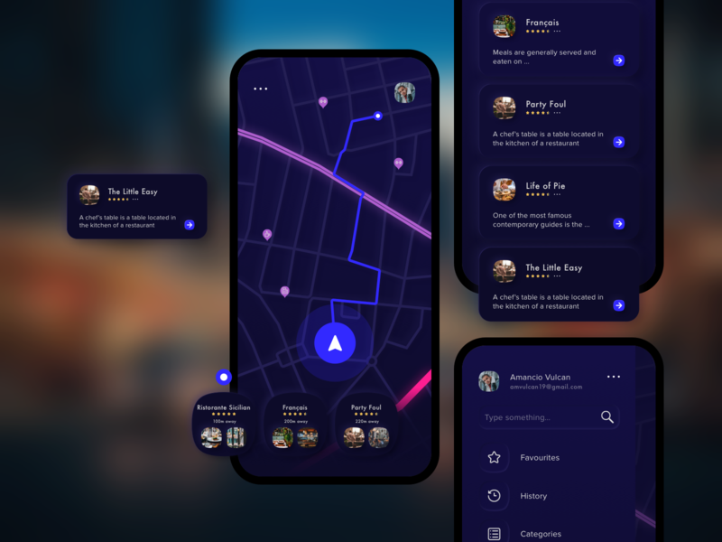 Throttle app city local driving car gps map restaurant menu blue design info card skeuomorphic road black night mode color sketch app ui ui kit