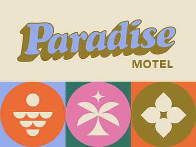 🌴 Paradise Motel 🌴 hospitality 70s vacation beach travel hawaii palm tree logo miami motel branding tropical paradise retro typography groovy
