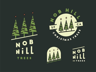 Nob Hill Christmas Tree Lot - 2 trees tree logo pine tree nob hill trees nob hill christmas trees christmas tree christmas logo christmas