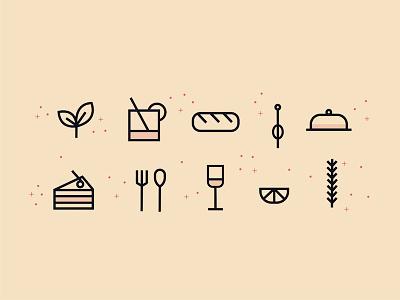 Icon set for food & drink blog rosemary olive tipple taste food