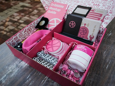 The new Dribbble Meetup kits are here! box swag community dribbble dribbblemeetup meetups meetup