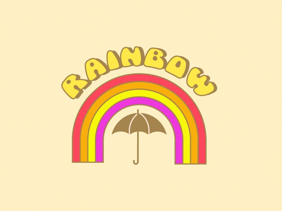 Rainbow - Kacey Musgraves 🌈🎶 rainy rain rainbows spaceykacey umbrella weather lyrics groovy retro illustration 70s music song kaceymusgraves rainbow