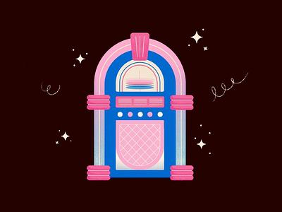 Jukebox 🎶 illustration songs retro groovy music player vinyl records music jukebox
