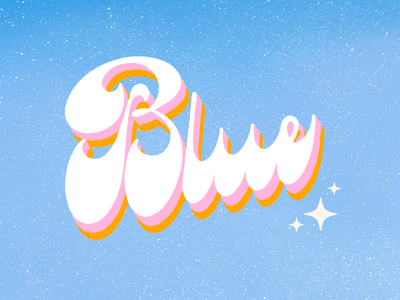 Blue 💙 procreate shading retro colors typography type lettering groovy 70s