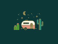 Desert Dwelling 🌵✨ country illustration trailer cactus desert