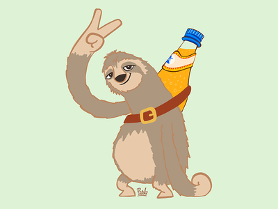 Sloth drink club mate ipad sloth illustration