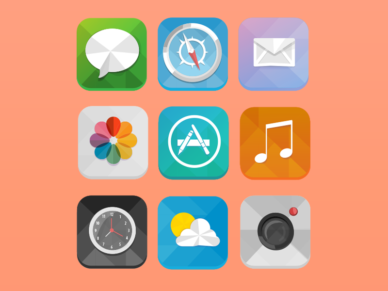 Low Poly iOS 7 Icons low poly ios7 ios apple icons vector illustration imac iphone mail itunes camera poly