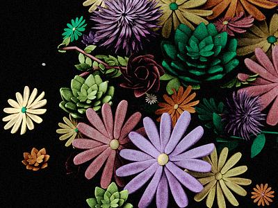 Flwrs succulents modeling daisies flowers c4d 3d
