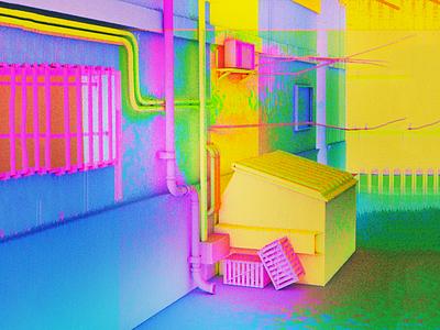 Neon Dump felix colorful aesthetic pixel glitch alleyway trash neon c4d 3d