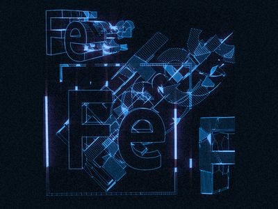 Type explorations fe adobe felix deconstruct blue print type 3d