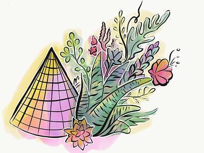 Flwers1 illustrator adobe art polygon succulents sketch illustration