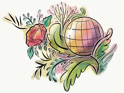 Flowrs3 illustrator adobe art roses sphere succulents sketch illustration