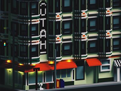 The Utah Hotel in SF 8bit pixels 3d render san francisco sf utah magicavoxel voxel low poly