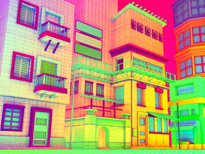 Daily City 03/10 aesthetic glitch bright colorful neon mesh lowpoly city c4d 3d