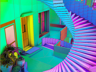 Daily City 04/10 aesthetic glitch bright colorful neon mesh lowpoly city c4d 3d
