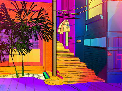 Daily City 13/10 aesthetic glitch bright colorful neon mesh lowpoly city c4d 3d