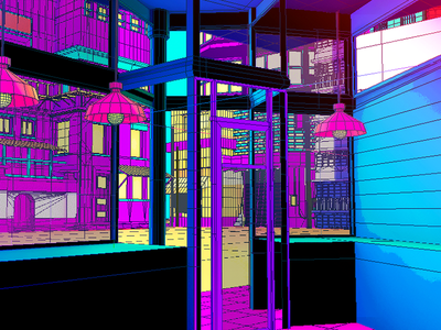 Daily City 12/10 aesthetic glitch bright colorful neon mesh lowpoly city c4d 3d