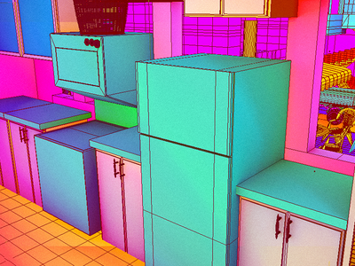 Daily City 10/10 aesthetic glitch bright colorful neon mesh lowpoly city c4d 3d
