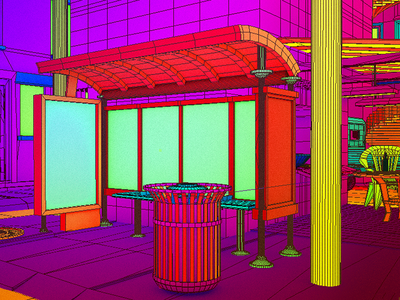 Daily City 11/10 trash can garbage bus aesthetic glitch neon mesh lowpoly city c4d 3d