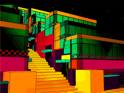 Daily City 24/10 aesthetic glitch bright colorful neon mesh lowpoly city c4d 3d