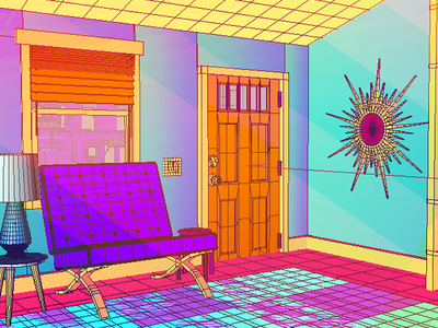Daily City 22/10 aesthetic midcentury bright colorful neon interior lowpoly city c4d 3d
