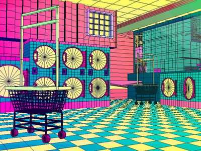 Daily City 15/10 laundromat laundry bright colorful neon mesh lowpoly city c4d 3d