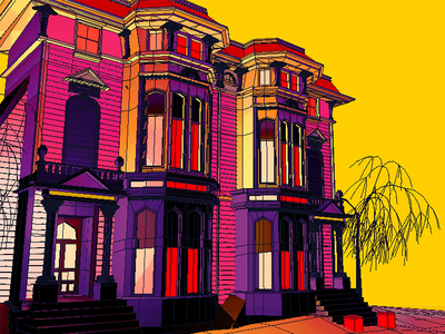 Daily City 31/10 sf victorian building trees neon lowpoly city c4d 3d