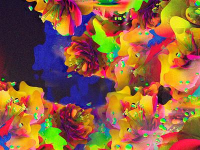 Fabric Explorations flower fabric glitch neon aesthetic c4d 3d
