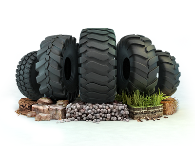 Industrial tires tire earthmover truck lorry ground stone gravel grass straw