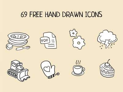 hand drawn icons icons free download sup pdf gears storm tractor cup cake pie