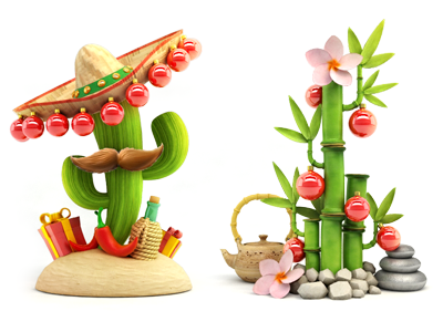 New year new year christmas cactus mexico bamboo balloons gifts sombrero