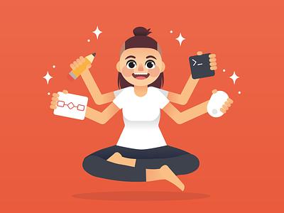 Designer/developer character portrait illustration vector girl characterdesign yoga pose developer designer
