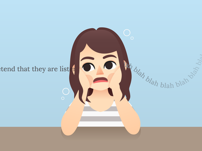 Boring presentation tired lecture boring bored girl characterdesign portrait vector illustration character