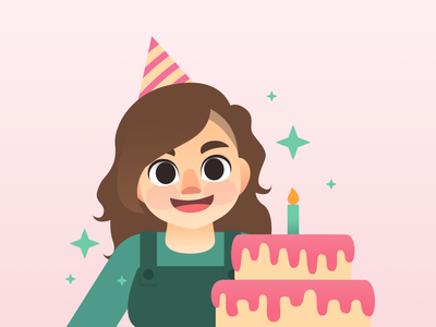 Happy Birthday birthday cake birthday party anniversary party birthday cute characterdesign character illustration vector