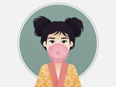 Bubblegum portrait photoshop people illustrator drawing digital color character art vector design illustration