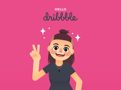 Hello Dribbble! ✌️ happy peace sign vector shot illustration character hello dribbble hello debut shot debut