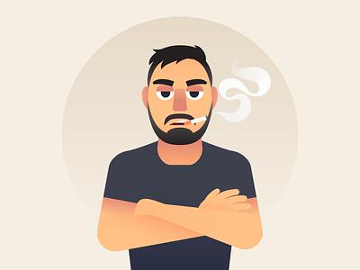 Portrait black portrait smoking smoke cigarette person human male man art vector illustration character