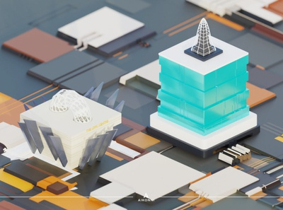 Abstraction II - Civic Center low poly blender3d abstract design abstract3d abstraction abstract art event center city isometric illustration motion graphics 3dillustration architechture abstract