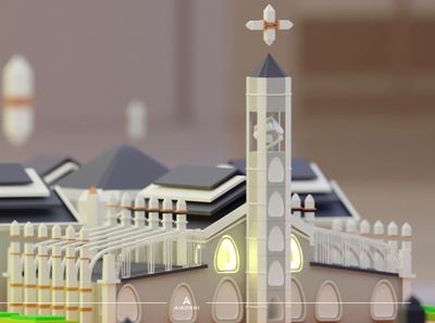 Abstraction V landmark animation blender3d low poly isometric lagos cathedral church abstract3d abstractions motion graphics graphic design